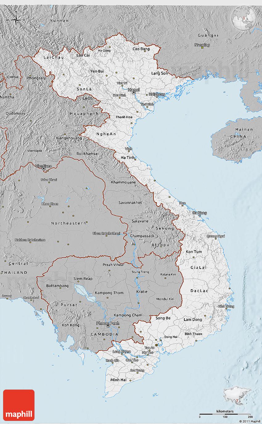 Gray 3D Map of Vietnam