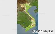 Physical 3D Map of Vietnam, darken