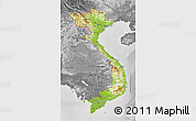 Physical 3D Map of Vietnam, desaturated
