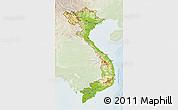 Physical 3D Map of Vietnam, lighten