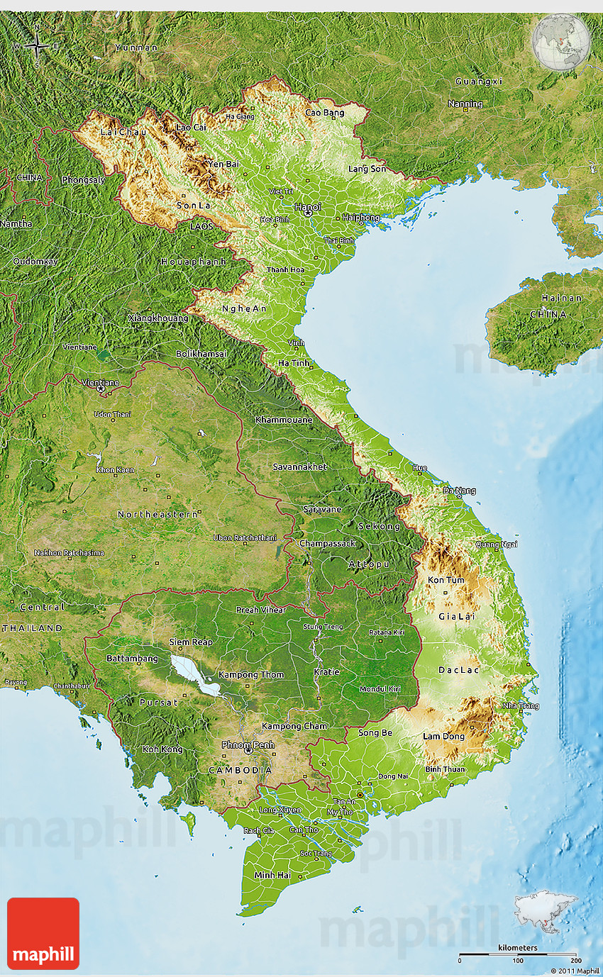 Physical 3D Map Of Vietnam, Satellite Outside, Shaded Relief Sea