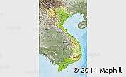 Physical 3D Map of Vietnam, semi-desaturated, land only