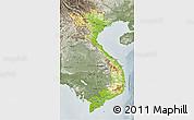 Physical 3D Map of Vietnam, semi-desaturated