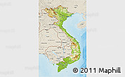 Physical 3D Map of Vietnam, shaded relief outside