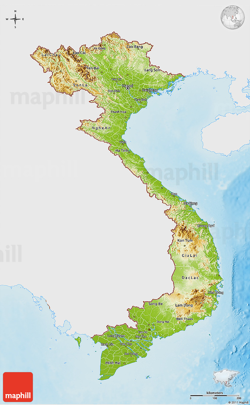 Physical 3D Map of Vietnam, single color outside