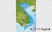 Political Shades 3D Map of Vietnam, satellite outside, bathymetry sea