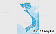 Political Shades 3D Map of Vietnam, single color outside