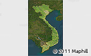 Satellite 3D Map of Vietnam, darken