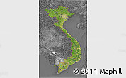 Satellite 3D Map of Vietnam, desaturated