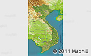 Satellite 3D Map of Vietnam, physical outside, satellite sea
