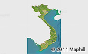 Satellite 3D Map of Vietnam, single color outside
