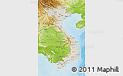 Shaded Relief 3D Map of Vietnam, physical outside