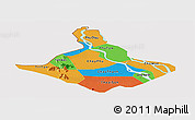 Political Panoramic Map of An Giang, cropped outside