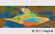 Political Panoramic Map of An Giang, darken