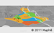 Political Panoramic Map of An Giang, desaturated
