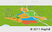 Political Panoramic Map of An Giang, physical outside