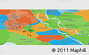 Political Panoramic Map of An Giang, political shades outside