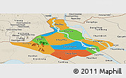 Political Panoramic Map of An Giang, shaded relief outside