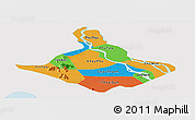 Political Panoramic Map of An Giang, single color outside