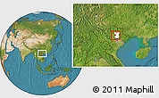 Satellite Location Map of Dinh Hoa, highlighted parent region