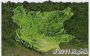 Satellite Panoramic Map of Bac Thai, darken