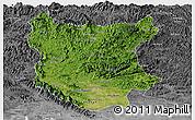 Satellite Panoramic Map of Bac Thai, desaturated