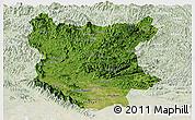 Satellite Panoramic Map of Bac Thai, lighten