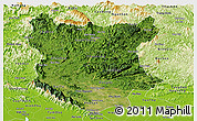 Satellite Panoramic Map of Bac Thai, physical outside