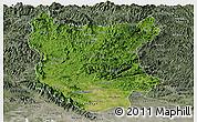 Satellite Panoramic Map of Bac Thai, semi-desaturated