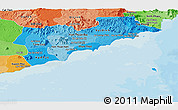 Political Shades Panoramic Map of Binh Thuan