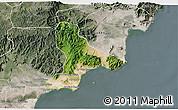 Satellite 3D Map of Tuy Phong, semi-desaturated