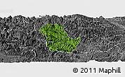 Satellite Panoramic Map of Ba Be, desaturated