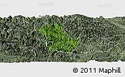 Satellite Panoramic Map of Ba Be, semi-desaturated