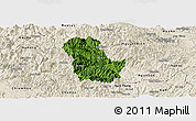 Satellite Panoramic Map of Ba Be, shaded relief outside