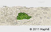 Satellite Panoramic Map of Ngan Son, shaded relief outside
