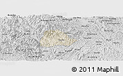 Shaded Relief Panoramic Map of Ngan Son, desaturated