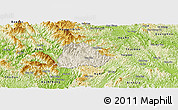 Shaded Relief Panoramic Map of Ngan Son, physical outside