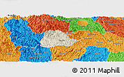Shaded Relief Panoramic Map of Ngan Son, political outside