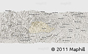 Shaded Relief Panoramic Map of Ngan Son, semi-desaturated