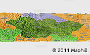 Satellite Panoramic Map of Cao Bang, political shades outside