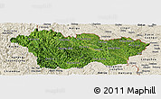 Satellite Panoramic Map of Cao Bang, shaded relief outside