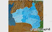 Political Shades 3D Map of Gia Lai, darken