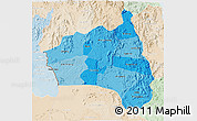 Political Shades 3D Map of Gia Lai, lighten