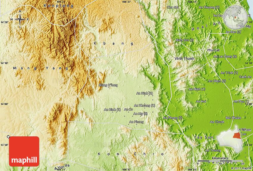 Lai Khe Vietnam Map.Physical Map Of An Khe