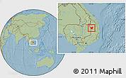 Savanna Style Location Map of Chu Prong, hill shading