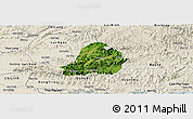 Satellite Panoramic Map of Son Dong, shaded relief outside
