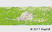 Shaded Relief Panoramic Map of Son Dong, physical outside