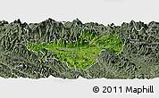 Satellite Panoramic Map of Bac Quang, semi-desaturated