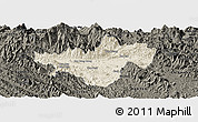 Shaded Relief Panoramic Map of Bac Quang, darken