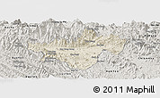 Shaded Relief Panoramic Map of Bac Quang, semi-desaturated